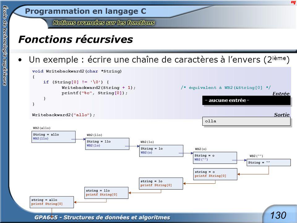 130 Fonctions récursives Un exemple : écrire une chaîne de caractères à lenvers (2 ième ) void Writebackward2(char *String) { if (String[0] != '\0') {