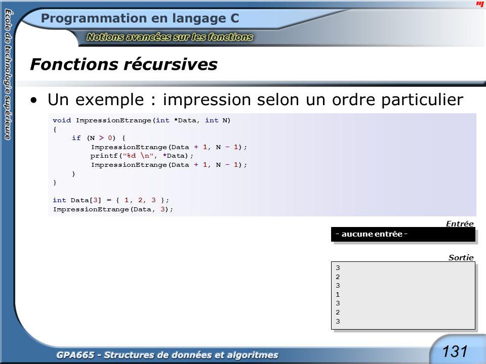 131 Fonctions récursives Un exemple : impression selon un ordre particulier void ImpressionEtrange(int *Data, int N) { if (N > 0) { ImpressionEtrange(