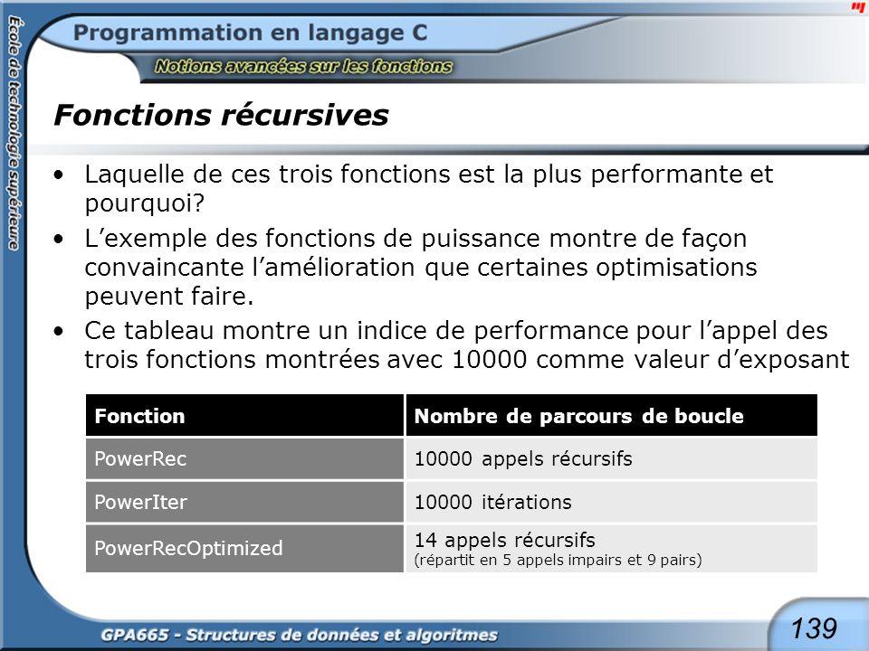 139 Fonctions récursives Laquelle de ces trois fonctions est la plus performante et pourquoi? Lexemple des fonctions de puissance montre de façon conv
