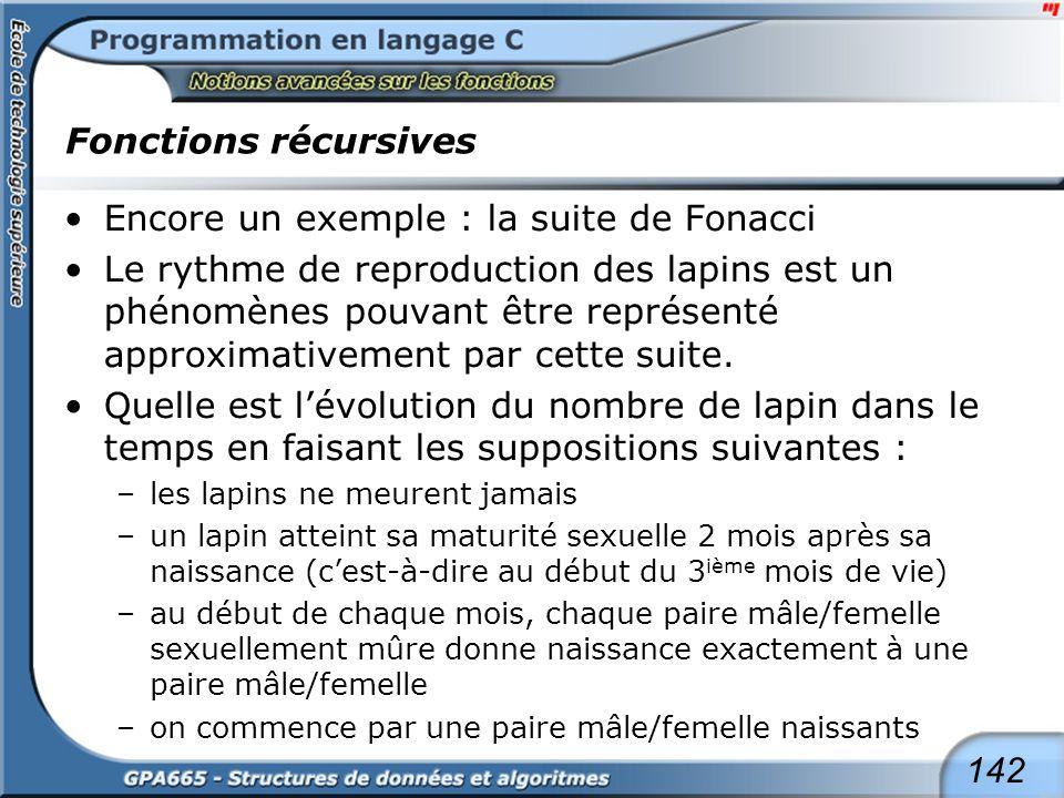 142 Fonctions récursives Encore un exemple : la suite de Fonacci Le rythme de reproduction des lapins est un phénomènes pouvant être représenté approx