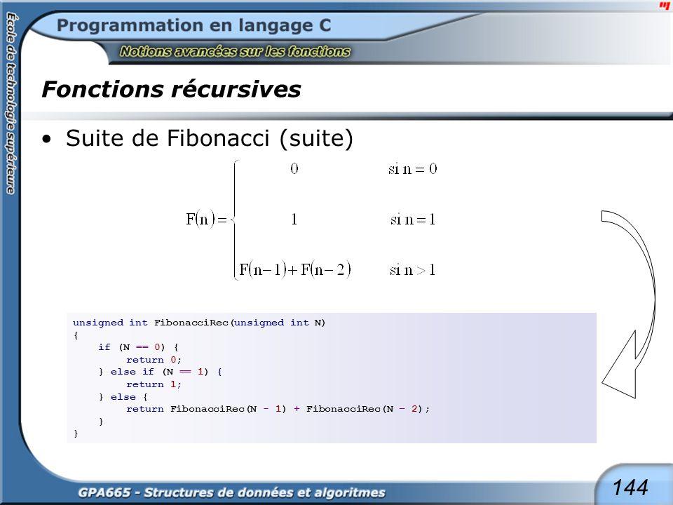 144 Fonctions récursives Suite de Fibonacci (suite) unsigned int FibonacciRec(unsigned int N) { if (N == 0) { return 0; } else if (N == 1) { return 1;