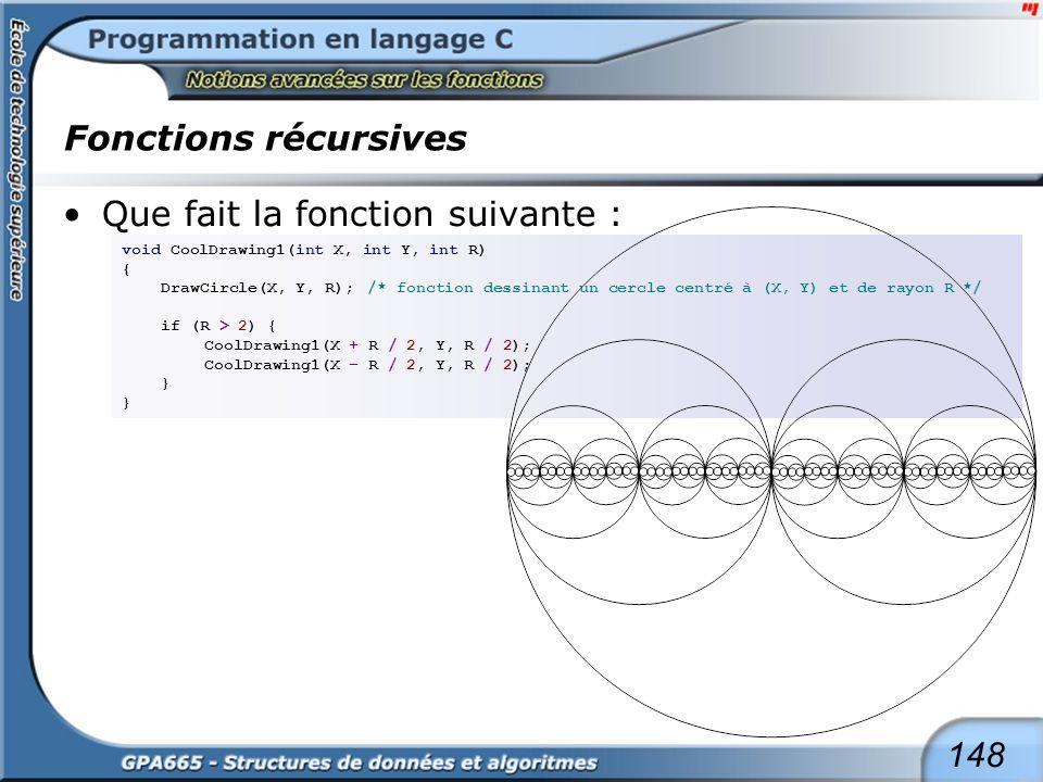 148 Fonctions récursives Que fait la fonction suivante : void CoolDrawing1(int X, int Y, int R) { DrawCircle(X, Y, R);/* fonction dessinant un cercle