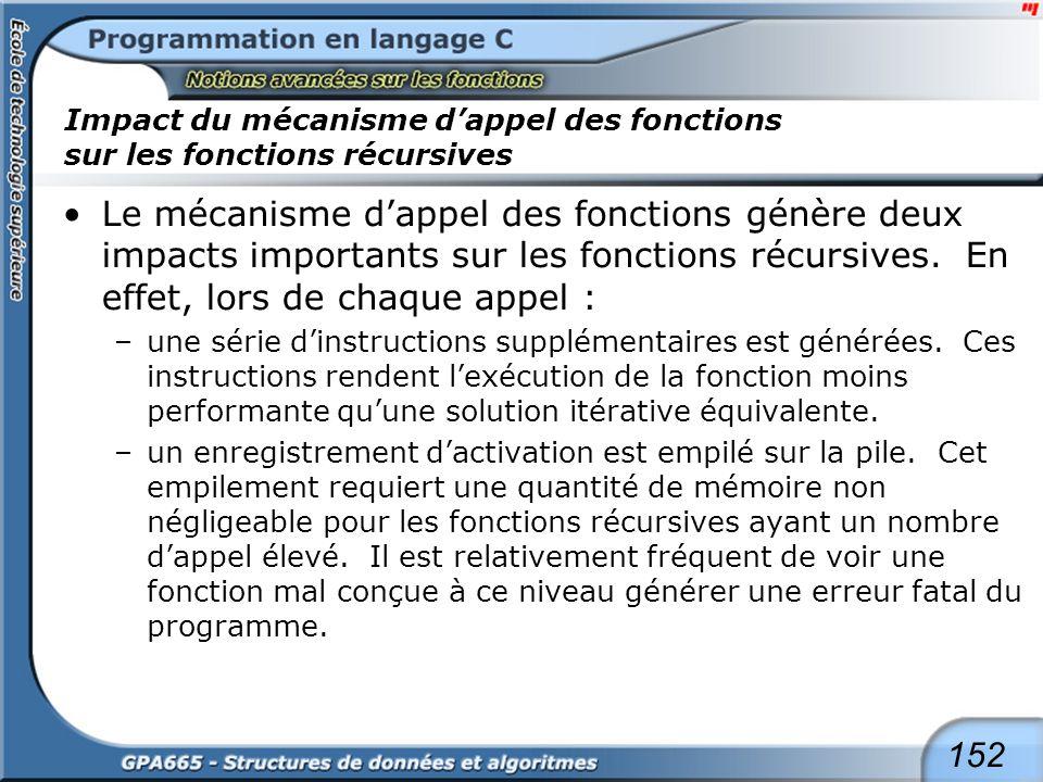 152 Impact du mécanisme dappel des fonctions sur les fonctions récursives Le mécanisme dappel des fonctions génère deux impacts importants sur les fon