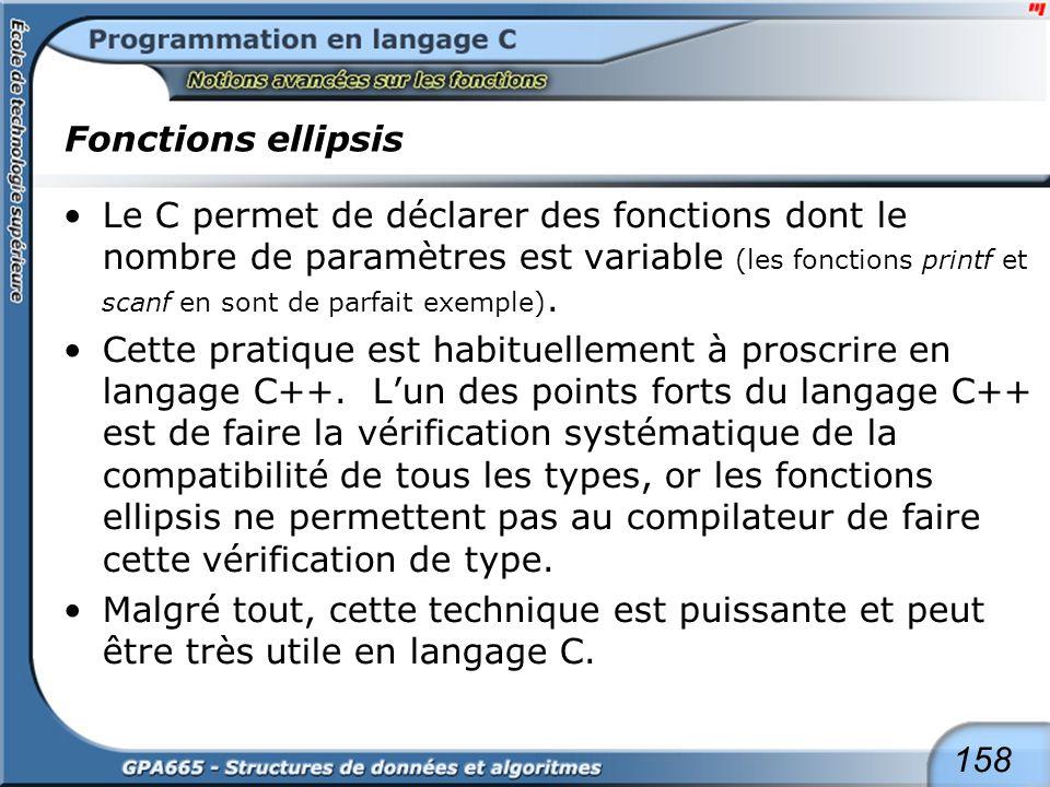 158 Fonctions ellipsis Le C permet de déclarer des fonctions dont le nombre de paramètres est variable (les fonctions printf et scanf en sont de parfa