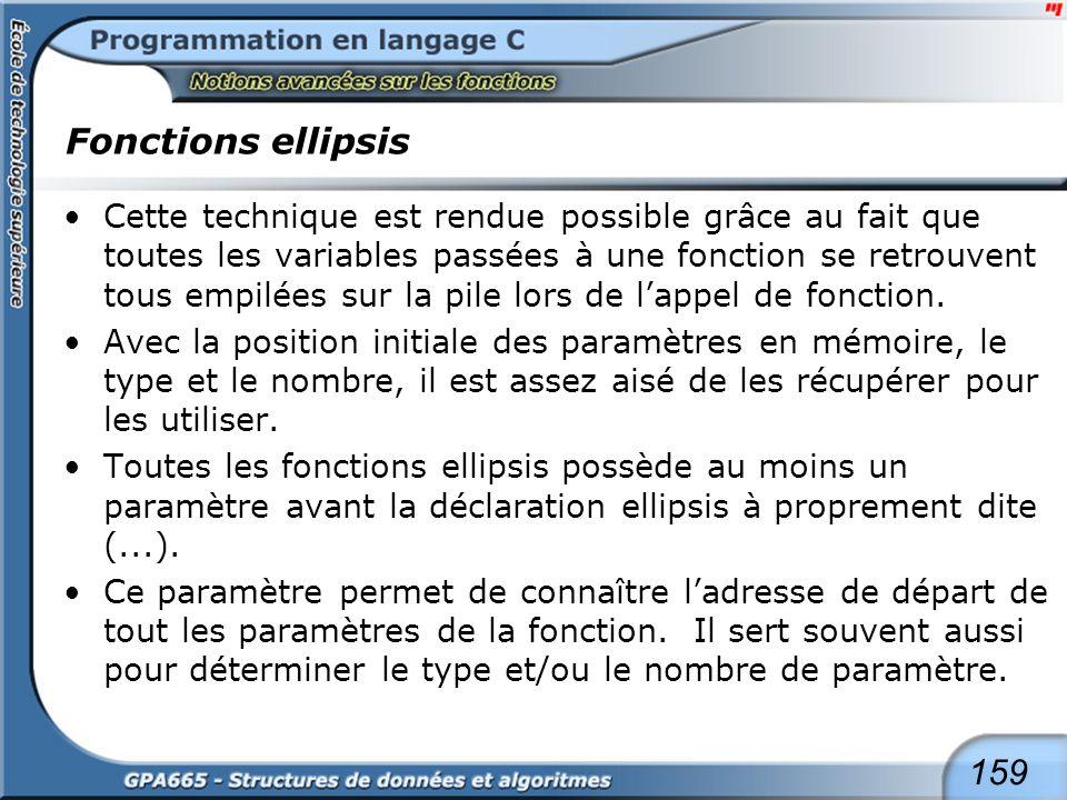 159 Fonctions ellipsis Cette technique est rendue possible grâce au fait que toutes les variables passées à une fonction se retrouvent tous empilées s