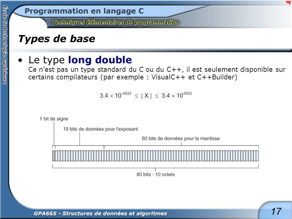 17 Types de base Le type long double Ce nest pas un type standard du C ou du C++, il est seulement disponible sur certains compilateurs (par exemple :