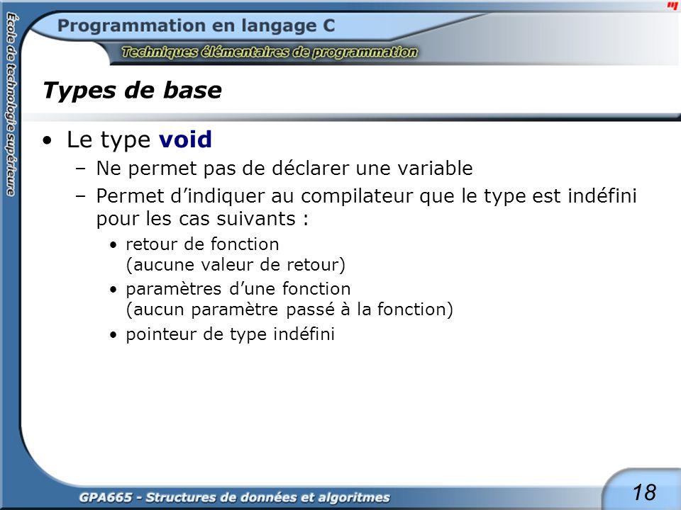 18 Types de base Le type void –Ne permet pas de déclarer une variable –Permet dindiquer au compilateur que le type est indéfini pour les cas suivants