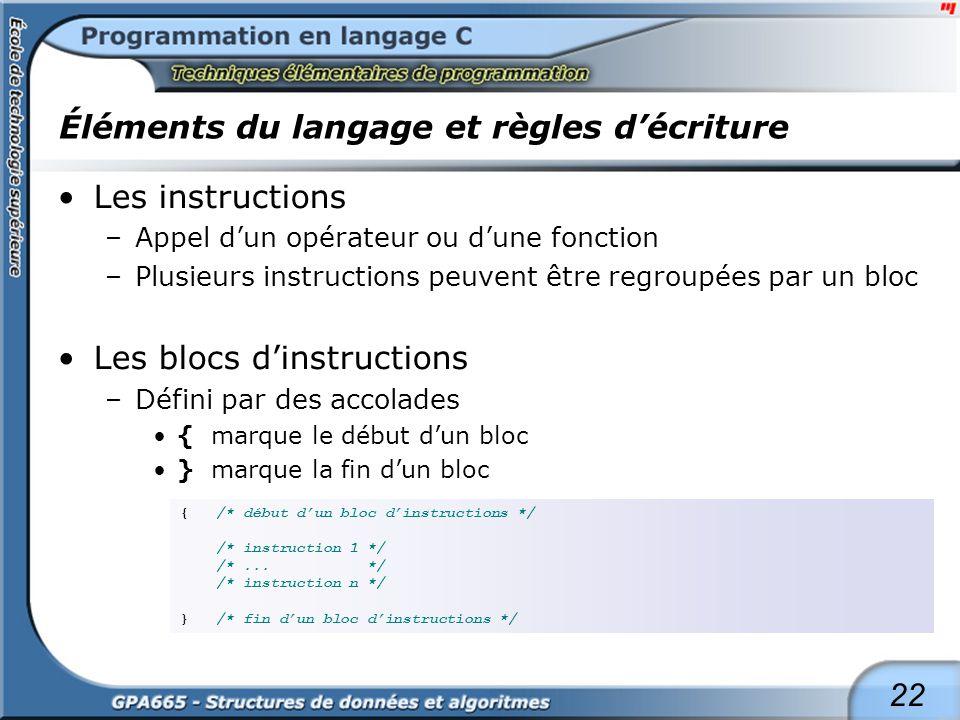 22 Éléments du langage et règles décriture Les instructions –Appel dun opérateur ou dune fonction –Plusieurs instructions peuvent être regroupées par