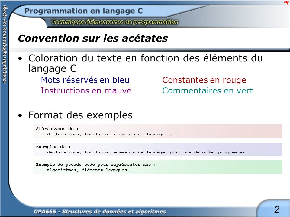 2 Convention sur les acétates Coloration du texte en fonction des éléments du langage C Mots réservés en bleuConstantes en rouge Instructions en mauve