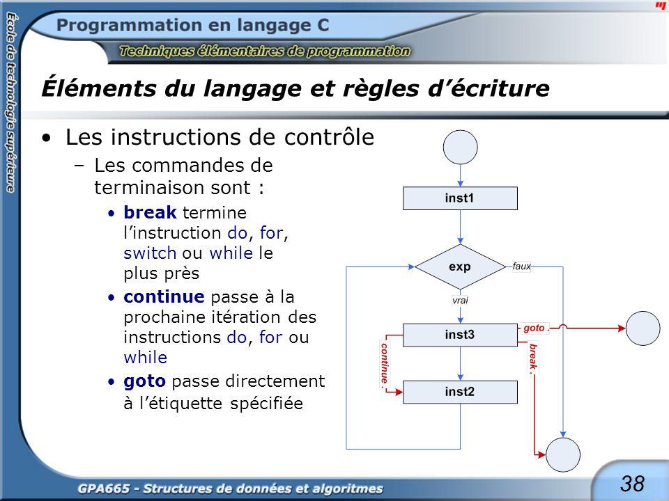 38 Éléments du langage et règles décriture Les instructions de contrôle –Les commandes de terminaison sont : break termine linstruction do, for, switc