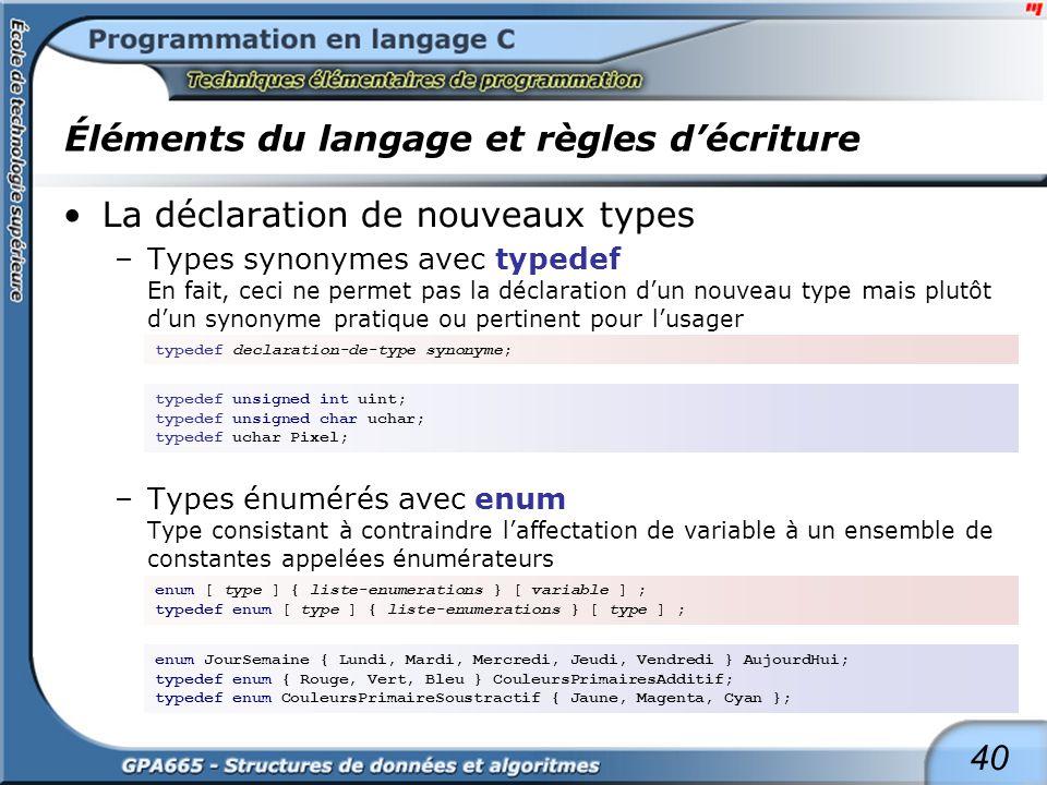 40 Éléments du langage et règles décriture La déclaration de nouveaux types –Types synonymes avec typedef En fait, ceci ne permet pas la déclaration d