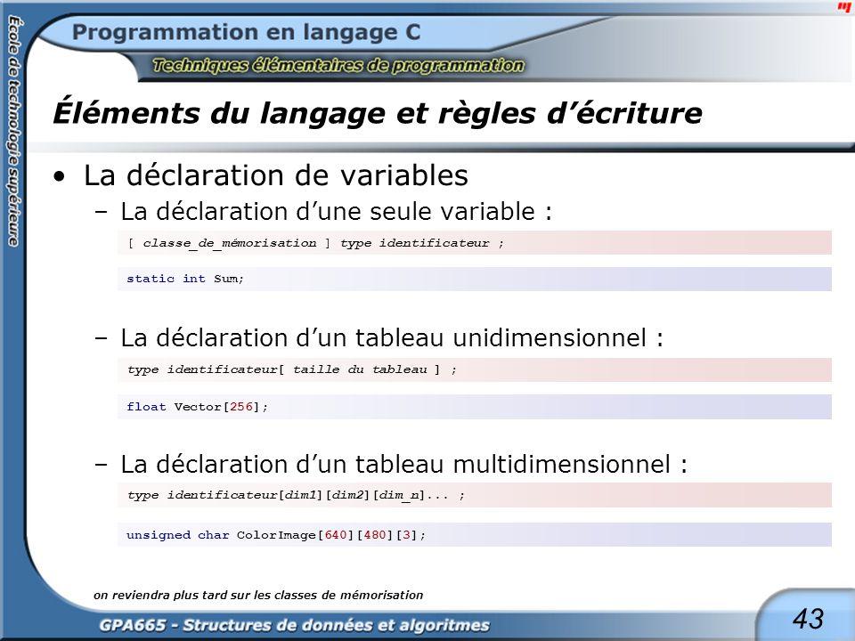 43 Éléments du langage et règles décriture La déclaration de variables –La déclaration dune seule variable : –La déclaration dun tableau unidimensionn