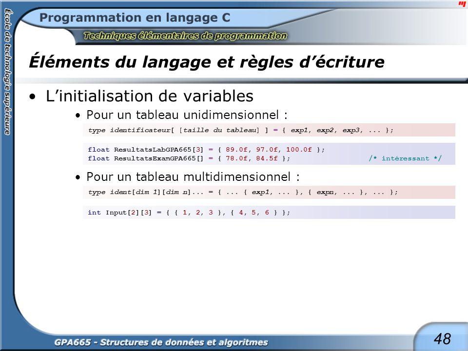 48 Éléments du langage et règles décriture Linitialisation de variables Pour un tableau unidimensionnel : Pour un tableau multidimensionnel : type ide