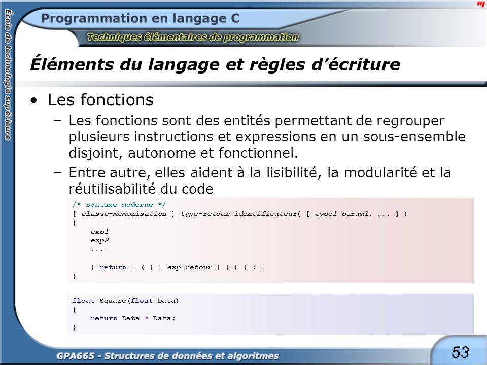 53 Éléments du langage et règles décriture Les fonctions –Les fonctions sont des entités permettant de regrouper plusieurs instructions et expressions