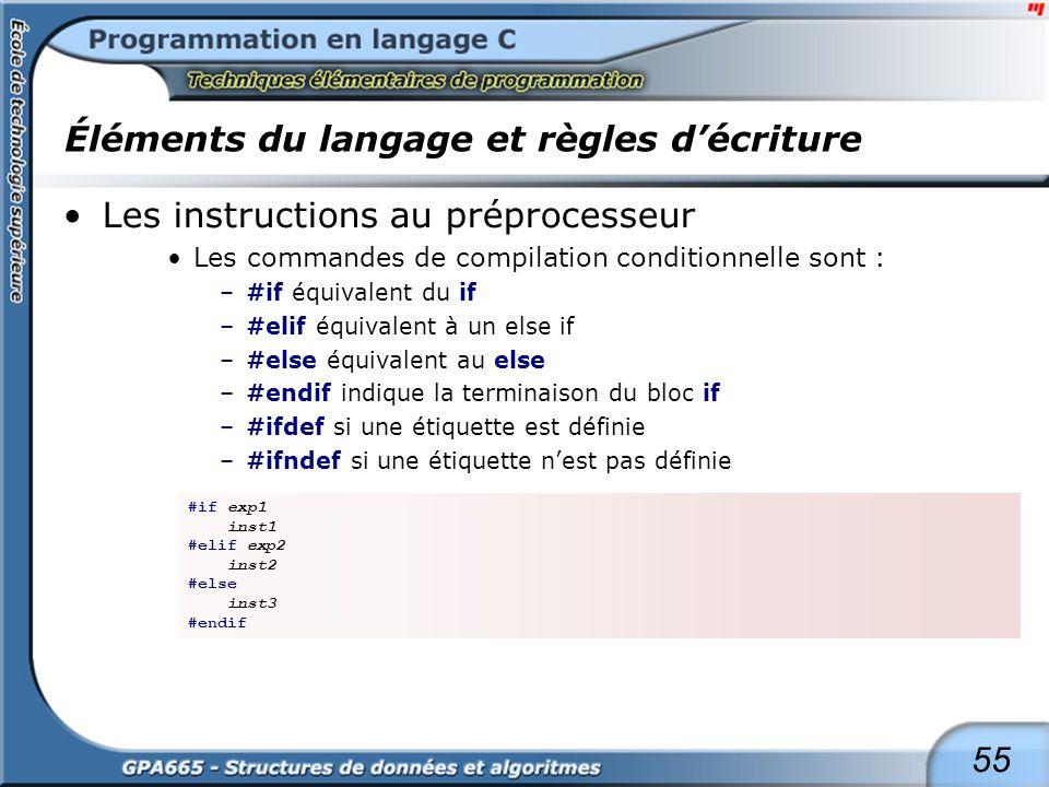55 Éléments du langage et règles décriture Les instructions au préprocesseur Les commandes de compilation conditionnelle sont : –#if équivalent du if