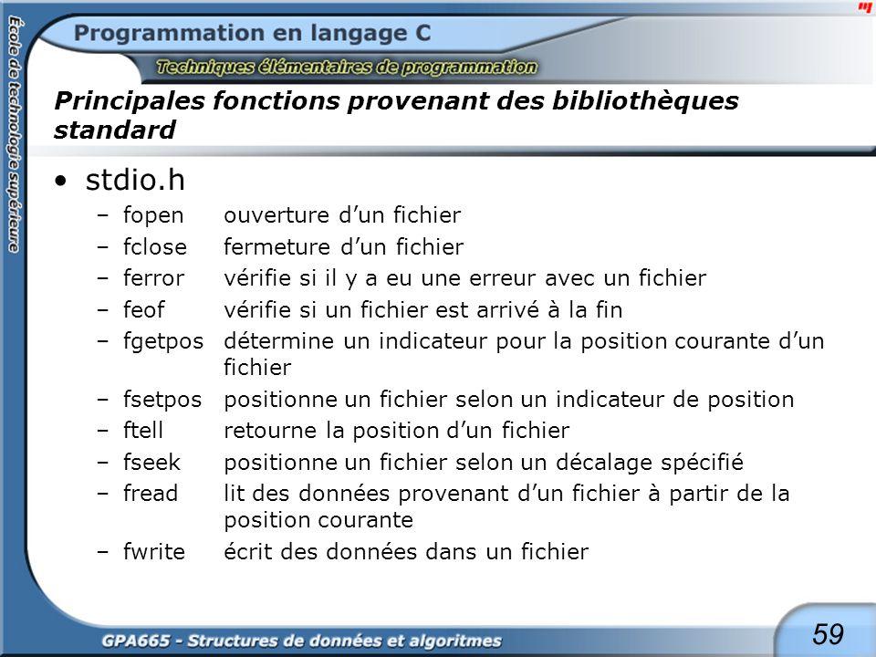 59 Principales fonctions provenant des bibliothèques standard stdio.h –fopenouverture dun fichier –fclosefermeture dun fichier –ferrorvérifie si il y