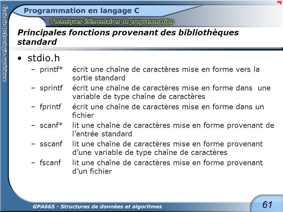 61 Principales fonctions provenant des bibliothèques standard stdio.h –printf*écrit une chaîne de caractères mise en forme vers la sortie standard –sp