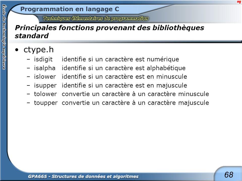 68 Principales fonctions provenant des bibliothèques standard ctype.h –isdigitidentifie si un caractère est numérique –isalphaidentifie si un caractèr