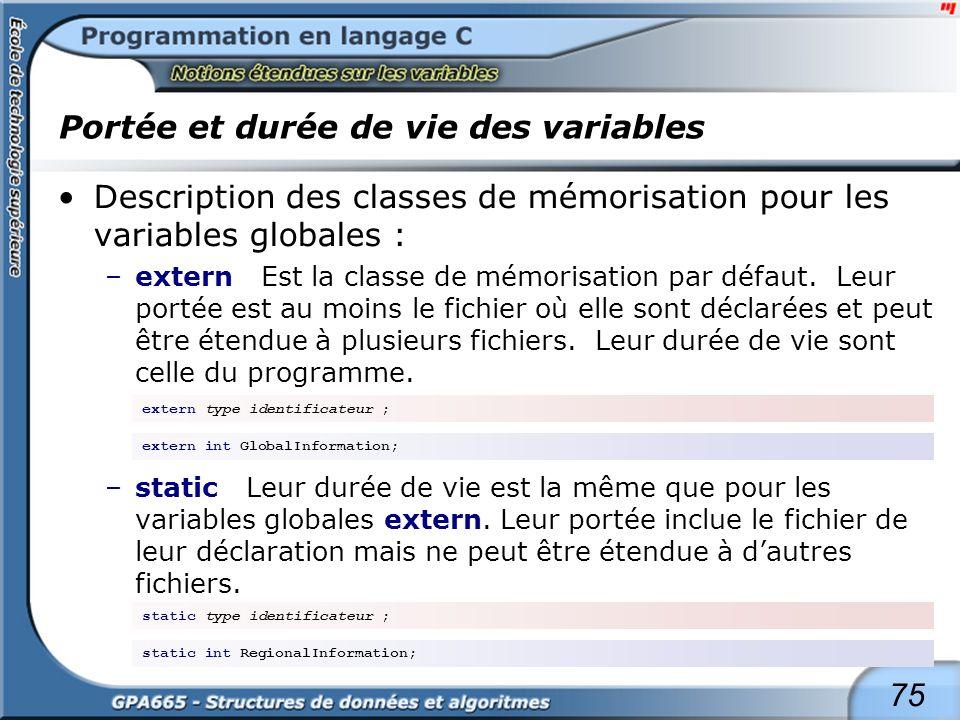 75 Portée et durée de vie des variables Description des classes de mémorisation pour les variables globales : –extern Est la classe de mémorisation pa