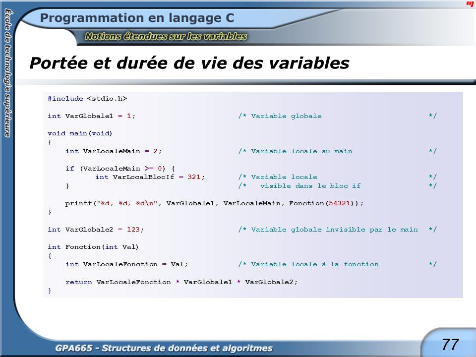 77 Portée et durée de vie des variables #include int VarGlobale1 = 1;/* Variable globale */ void main(void) { int VarLocaleMain = 2;/* Variable locale