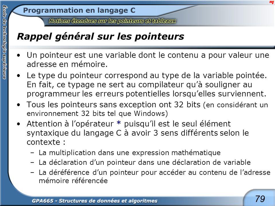 79 Rappel général sur les pointeurs Un pointeur est une variable dont le contenu a pour valeur une adresse en mémoire. Le type du pointeur correspond
