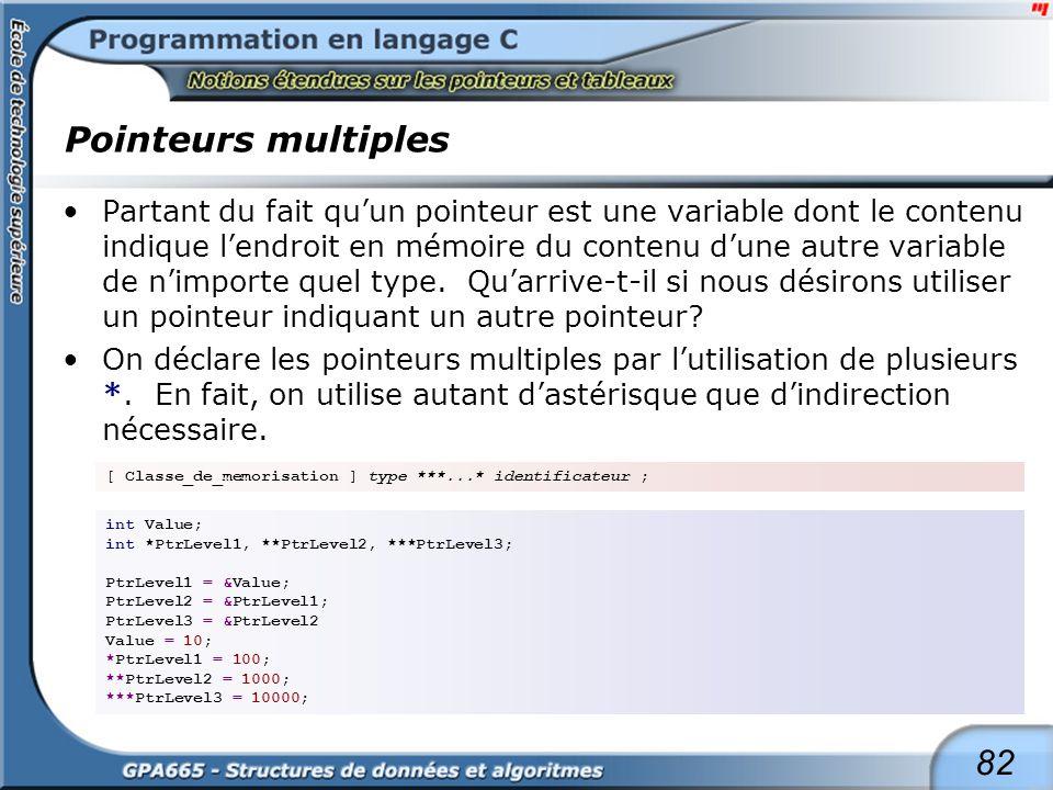 82 Pointeurs multiples Partant du fait quun pointeur est une variable dont le contenu indique lendroit en mémoire du contenu dune autre variable de ni