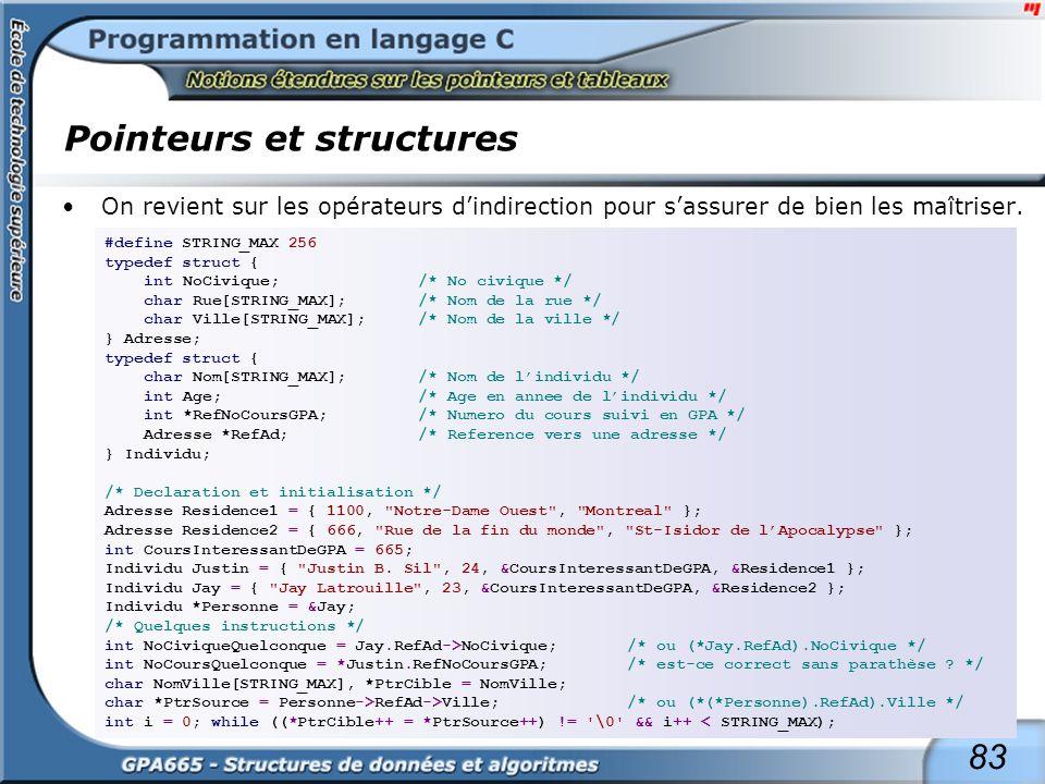 83 Pointeurs et structures On revient sur les opérateurs dindirection pour sassurer de bien les maîtriser. #define STRING_MAX 256 typedef struct { int