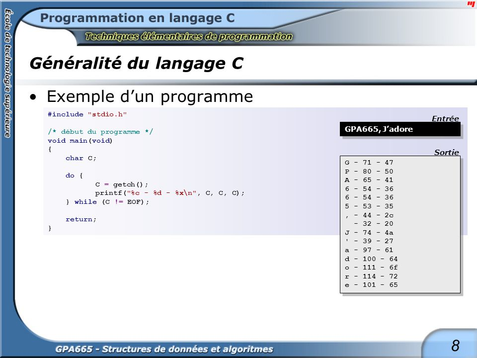 9 Généralité du langage C Exemple dun programme #include stdio.h /* début du programme */ void main(void) { int i, n, Sum; float Mean; n = 15; Sum = 0; Mean = 0.0f; for (i = 0; i < n; i++) { Sum += i; printf( Somme cumulative a l element %02d : %03d\n , i, Sum); } Mean = (float) Sum / n; printf( \nMoyenne des %d element(s) : %0.2f , n, Mean); return; } Somme cumulative a l element 00 : 000 Somme cumulative a l element 01 : 001 Somme cumulative a l element 02 : 003 Somme cumulative a l element 03 : 006 Somme cumulative a l element 04 : 010 Somme cumulative a l element 05 : 015 Somme cumulative a l element 06 : 021 Somme cumulative a l element 07 : 028 Somme cumulative a l element 08 : 036 Somme cumulative a l element 09 : 045 Somme cumulative a l element 10 : 055 Somme cumulative a l element 11 : 066 Somme cumulative a l element 12 : 078 Somme cumulative a l element 13 : 091 Somme cumulative a l element 14 : 105 Moyenne des 15 element(s) : 7.00 Somme cumulative a l element 00 : 000 Somme cumulative a l element 01 : 001 Somme cumulative a l element 02 : 003 Somme cumulative a l element 03 : 006 Somme cumulative a l element 04 : 010 Somme cumulative a l element 05 : 015 Somme cumulative a l element 06 : 021 Somme cumulative a l element 07 : 028 Somme cumulative a l element 08 : 036 Somme cumulative a l element 09 : 045 Somme cumulative a l element 10 : 055 Somme cumulative a l element 11 : 066 Somme cumulative a l element 12 : 078 Somme cumulative a l element 13 : 091 Somme cumulative a l element 14 : 105 Moyenne des 15 element(s) : 7.00 - aucune entrée - Entrée Sortie