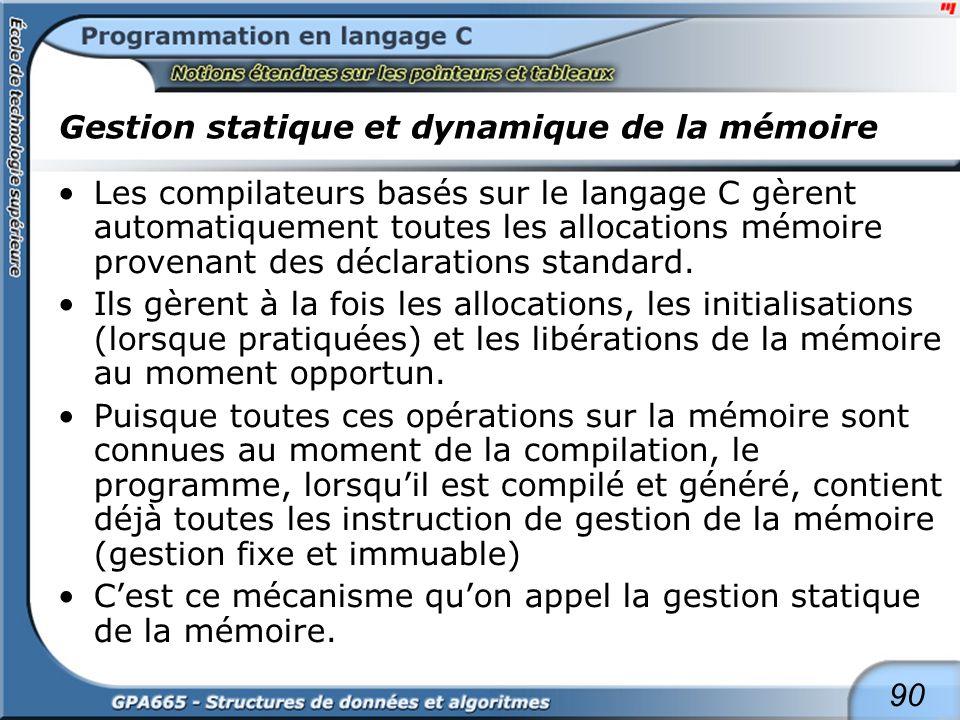 90 Gestion statique et dynamique de la mémoire Les compilateurs basés sur le langage C gèrent automatiquement toutes les allocations mémoire provenant