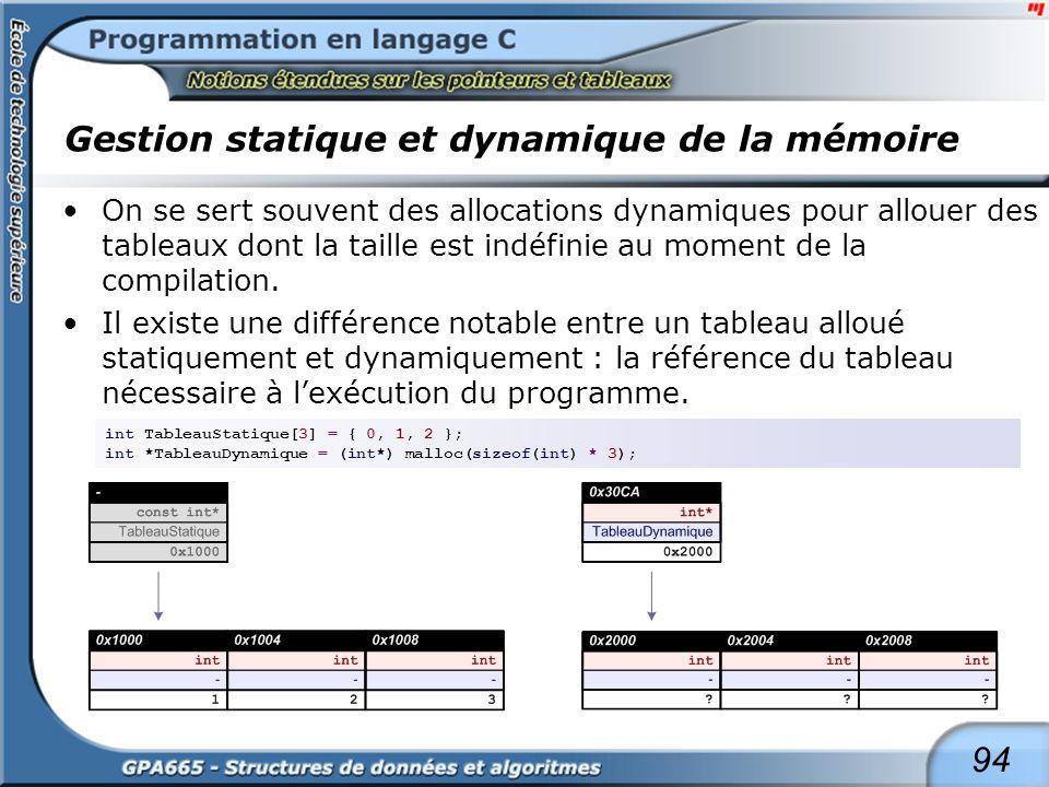 94 Gestion statique et dynamique de la mémoire On se sert souvent des allocations dynamiques pour allouer des tableaux dont la taille est indéfinie au