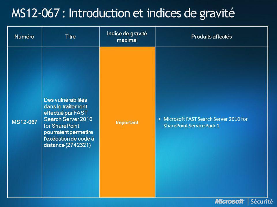 MS12-067 : Introduction et indices de gravité NuméroTitre Indice de gravité maximal Produits affectés MS12-067 Des vulnérabilités dans le traitement e