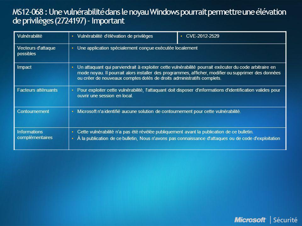MS12-068 : Une vulnérabilité dans le noyau Windows pourrait permettre une élévation de privilèges (2724197) - Important VulnérabilitéVulnérabilité d'é