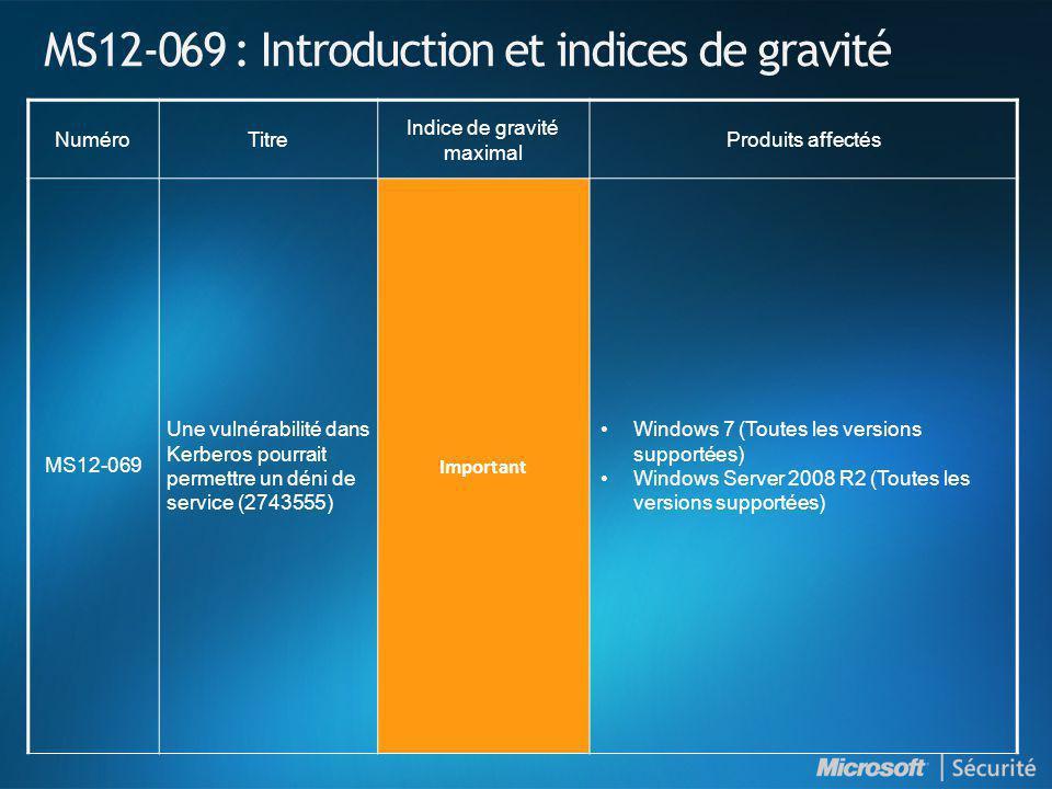 MS12-069 : Introduction et indices de gravité NuméroTitre Indice de gravité maximal Produits affectés MS12-069 Une vulnérabilité dans Kerberos pourrai