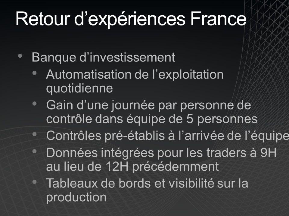 Retour dexpériences France Banque dinvestissement Automatisation de lexploitation quotidienne Gain dune journée par personne de contrôle dans équipe d