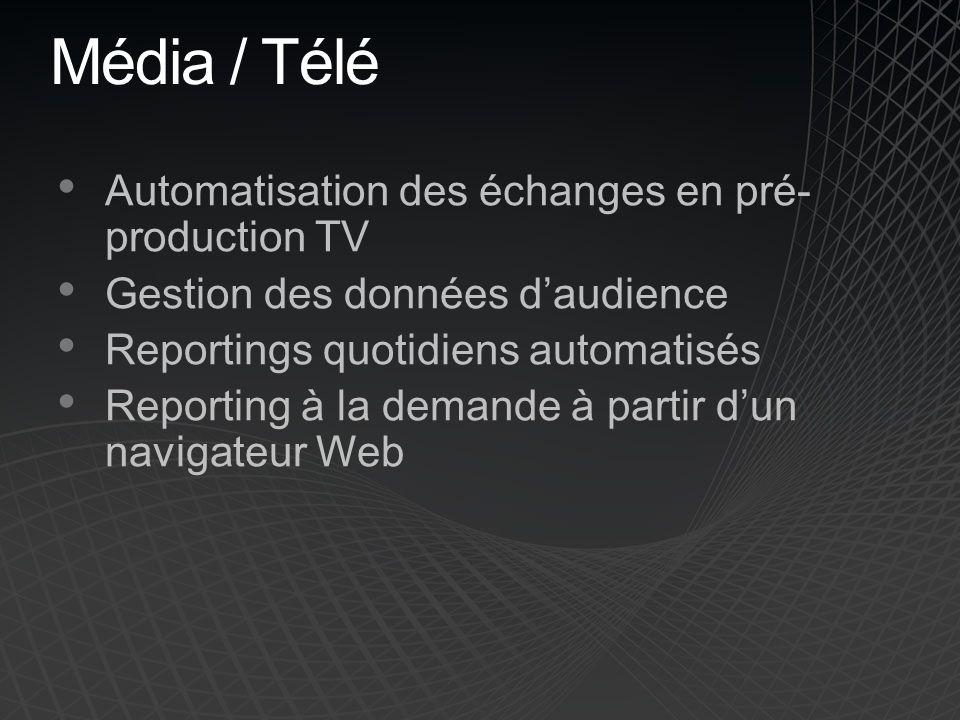 Média / Télé Automatisation des échanges en pré- production TV Gestion des données daudience Reportings quotidiens automatisés Reporting à la demande