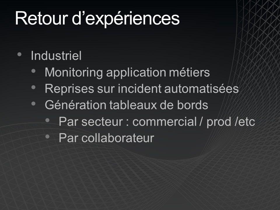 Retour dexpériences Industriel Monitoring application métiers Reprises sur incident automatisées Génération tableaux de bords Par secteur : commercial