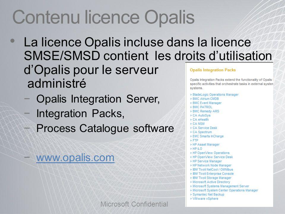Contenu licence Opalis La licence Opalis incluse dans la licence SMSE/SMSD contient les droits dutilisation dOpalis pour le serveur administré Opalis