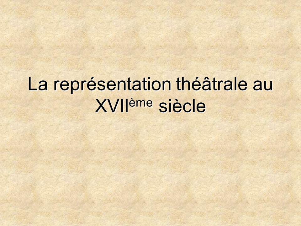 La représentation théâtrale au XVII ème siècle