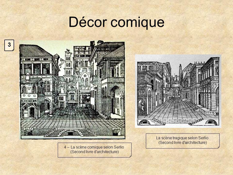 Décor comique La scène tragique selon Serlio (Second livre d architecture) 4 – La scène comique selon Serlio (Second livre d architecture) 3
