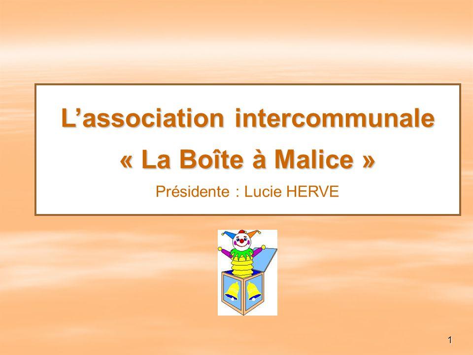 1 Lassociation intercommunale « La Boîte à Malice » Lassociation intercommunale « La Boîte à Malice » Présidente : Lucie HERVE