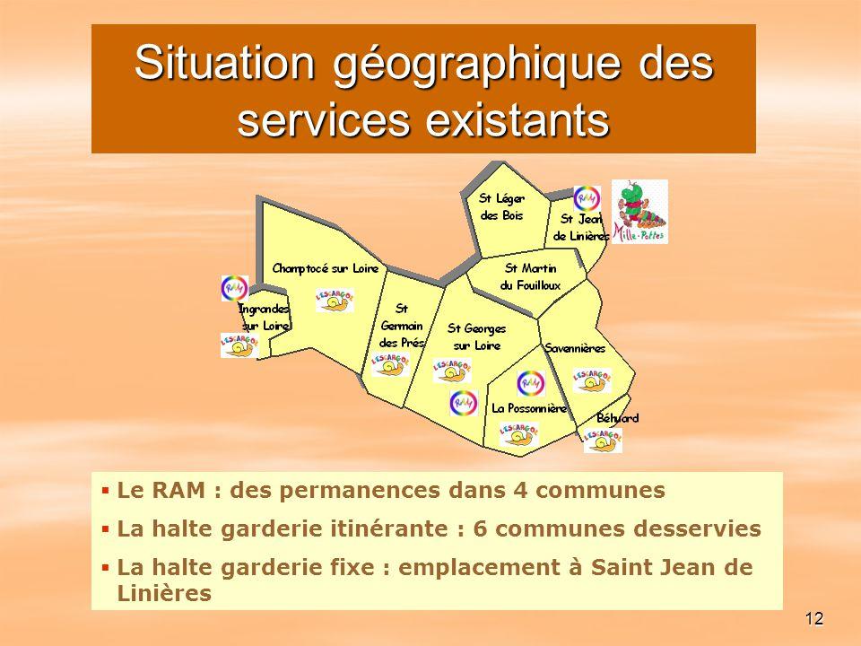 12 Le RAM : des permanences dans 4 communes La halte garderie itinérante : 6 communes desservies La halte garderie fixe : emplacement à Saint Jean de
