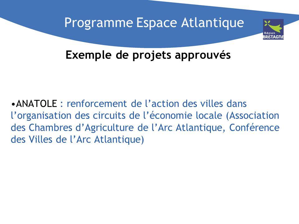 Programme Espace Atlantique Exemple de projets approuvés ANATOLE : renforcement de laction des villes dans lorganisation des circuits de léconomie loc