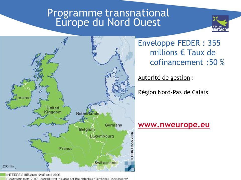 Programme transnational Europe du Nord Ouest Enveloppe FEDER : 355 millions Taux de cofinancement :50 % Autorité de gestion : Région Nord-Pas de Calai