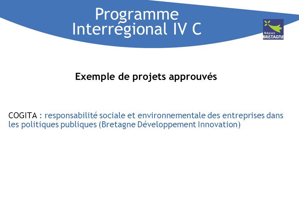 Exemple de projets approuvés COGITA : responsabilité sociale et environnementale des entreprises dans les politiques publiques (Bretagne Développement