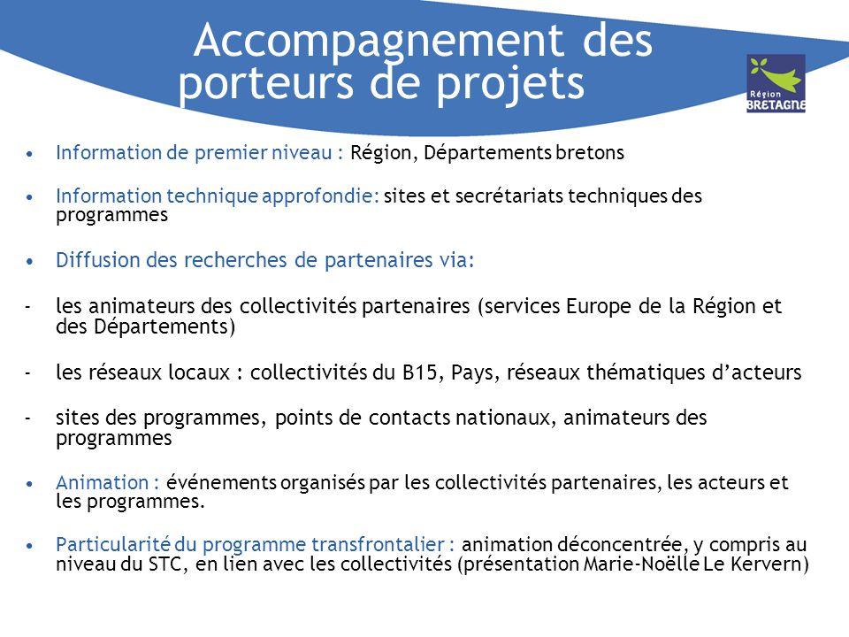 Accompagnement des porteurs de projets Information de premier niveau : Région, Départements bretons Information technique approfondie: sites et secrét