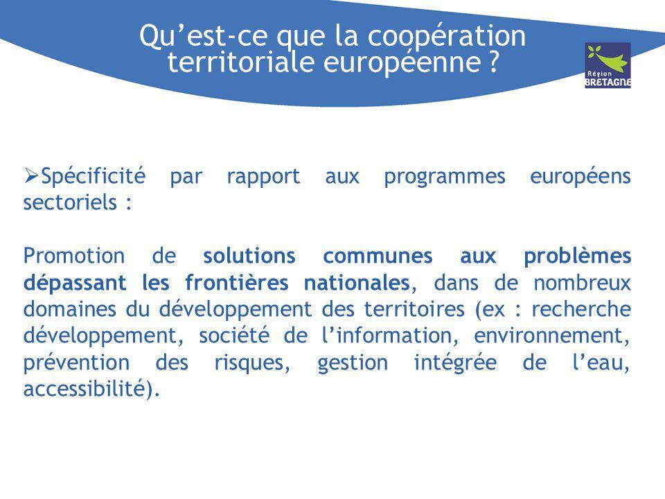 Quest-ce que la coopération territoriale européenne ? Spécificité par rapport aux programmes européens sectoriels : Promotion de solutions communes au