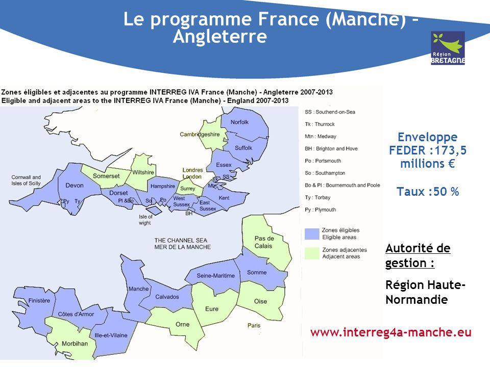 Le programme France (Manche) – Angleterre Enveloppe FEDER :173,5 millions Taux :50 % Autorité de gestion : Région Haute- Normandie www.interreg4a-manc