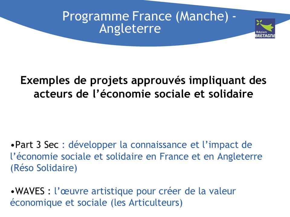Programme France (Manche) - Angleterre Exemples de projets approuvés impliquant des acteurs de léconomie sociale et solidaire Part 3 Sec : développer