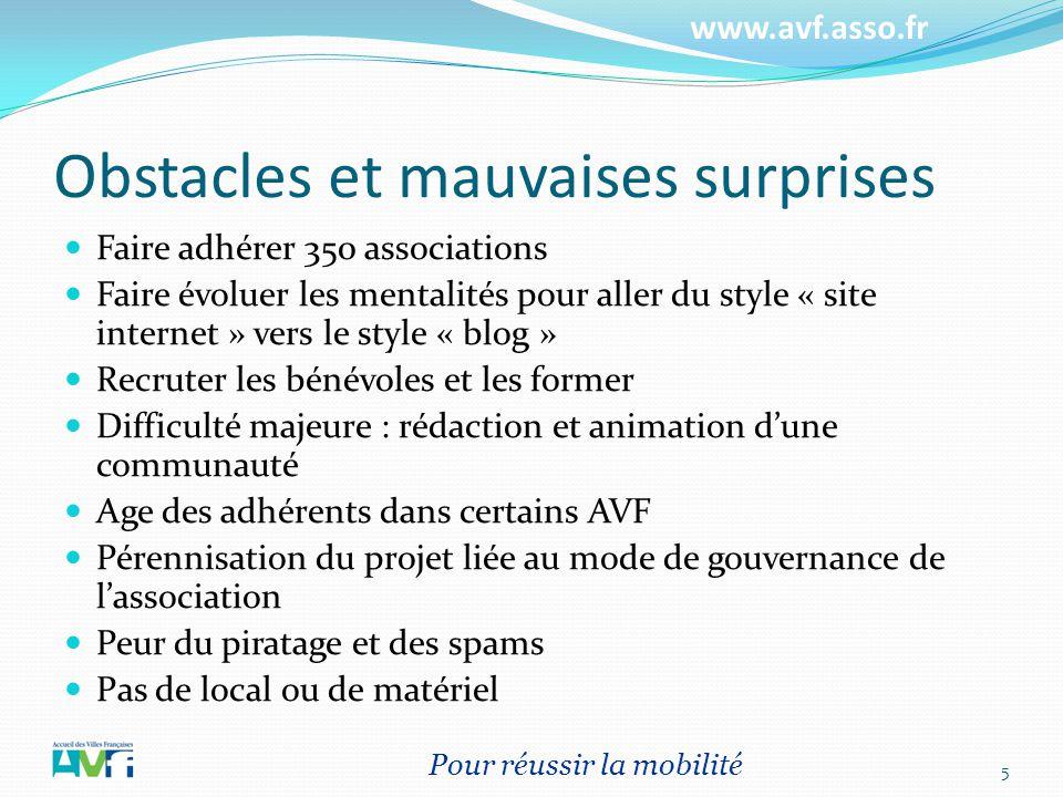 www.avf.asso.fr Obstacles et mauvaises surprises Faire adhérer 350 associations Faire évoluer les mentalités pour aller du style « site internet » ver