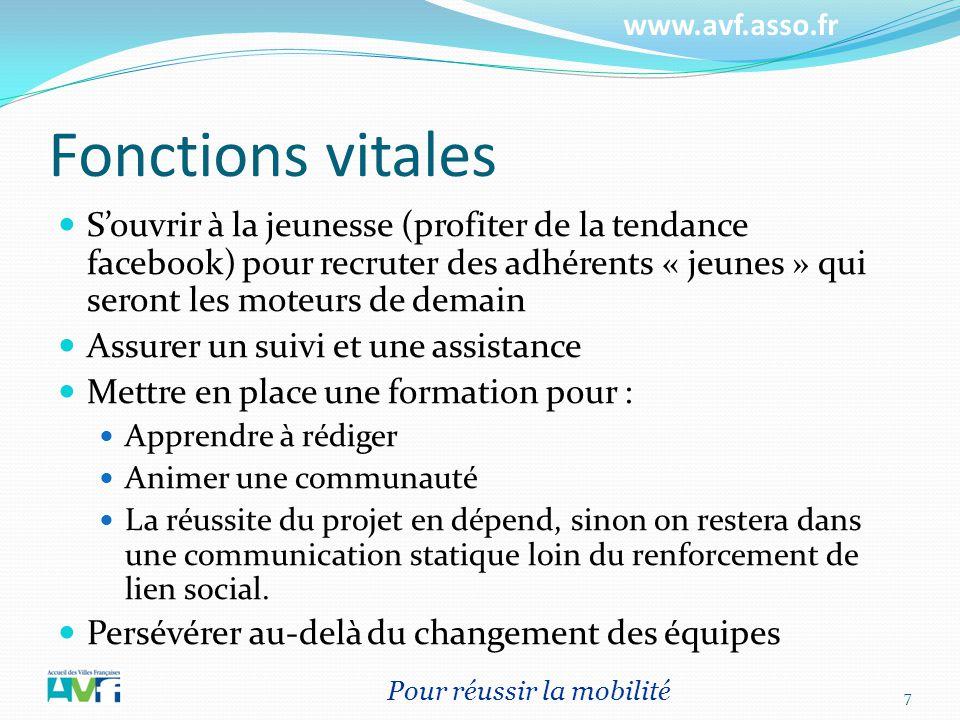 www.avf.asso.fr Fonctions vitales Souvrir à la jeunesse (profiter de la tendance facebook) pour recruter des adhérents « jeunes » qui seront les moteu